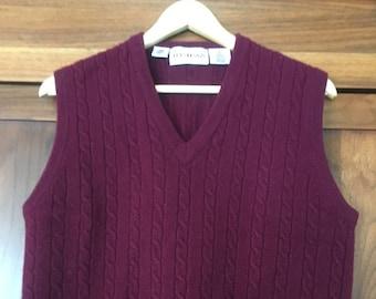 Men's Wool Sweater Vest Cable Knit Size L/XL