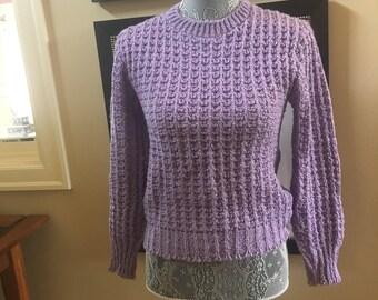 93a3515dfb 60 s Lavender Chunky Knit Cropped Sweater