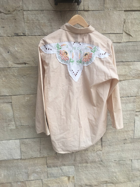 60/'s Lace Detailed Western Blouse Doily Embroiered Shirt Khaki   M L