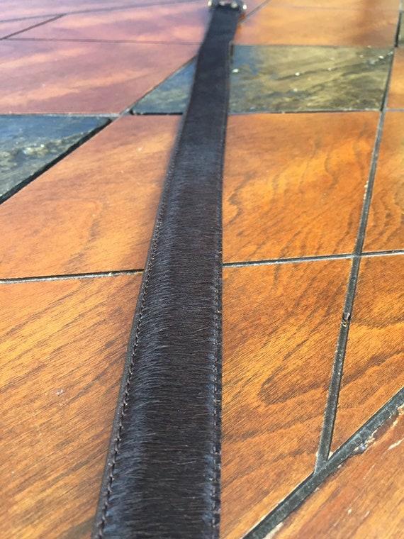 Vintage Western belt Fur belt Gold Leather Fur Be… - image 5