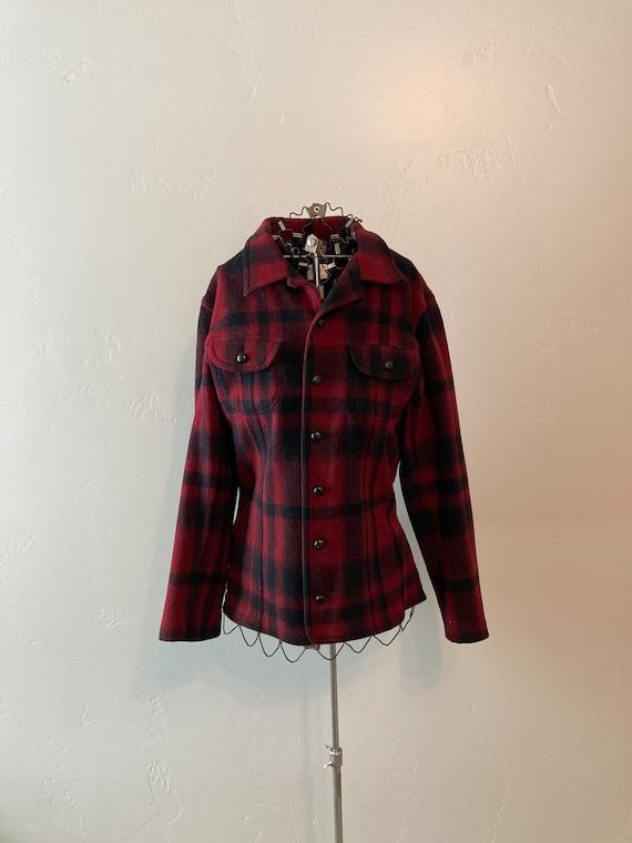 Wool Mackinaw Style Jacket Buffalo Check Plaid Shi