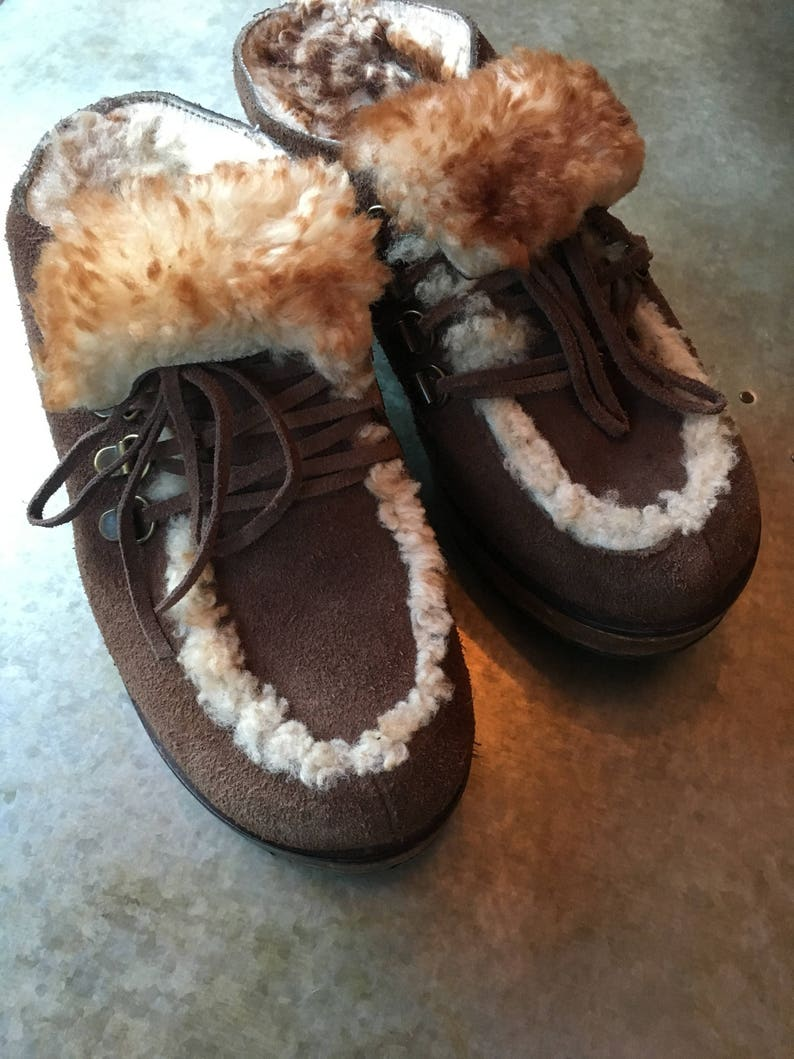 c78db2dd111672 80 s Fur Clogs    Moc Toe Clogs    Wooden Heel Clogs Size