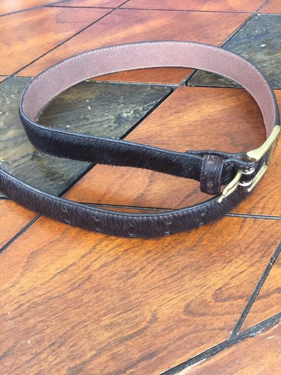 Vintage Western belt Fur belt Gold Leather Fur Be… - image 7