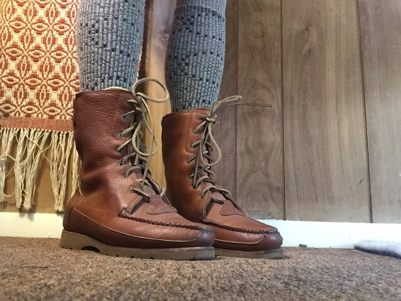 Vintage Timberland Leather Moc Toe Work Boots Leather Lace Industrial oho Ankle Mid Calf 9