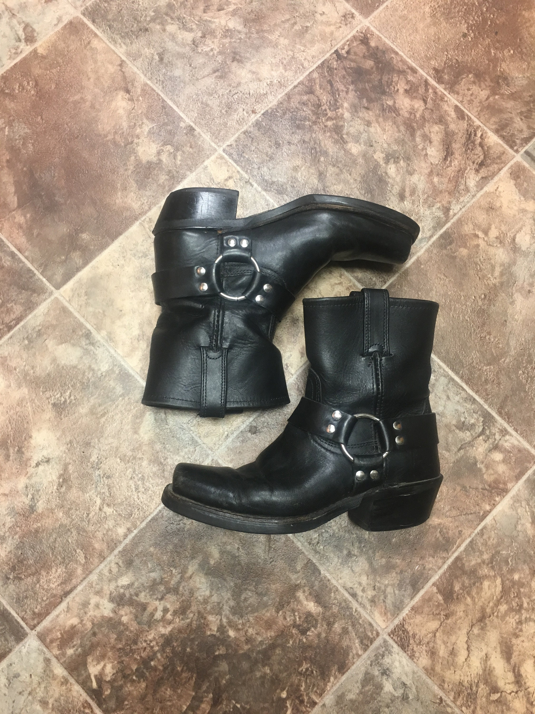 80 ' s bottes FRYE FRYE FRYE harnais en cuir noir taille 7 677c69