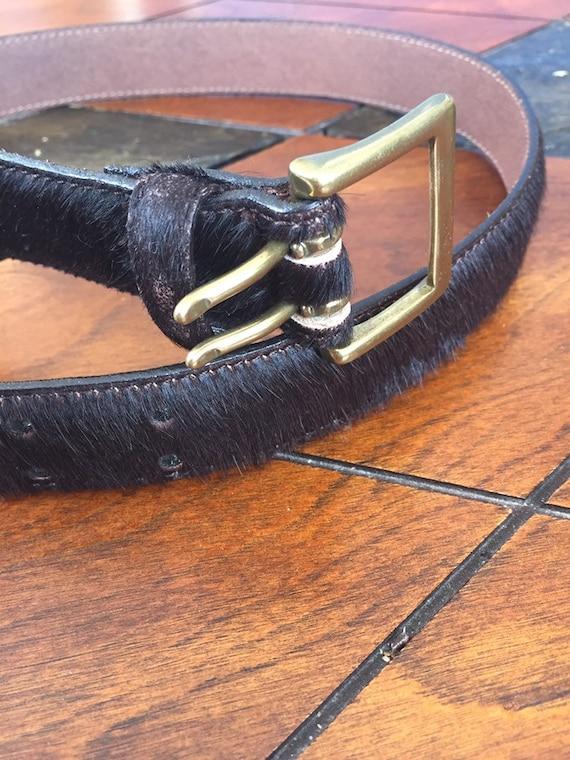 Vintage Western belt Fur belt Gold Leather Fur Be… - image 1