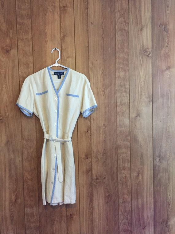 Ralph Lauren Dress Linen Dress Button Front Countr