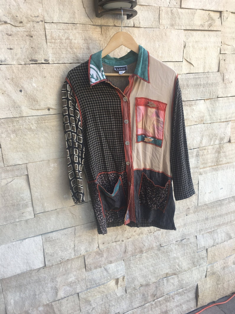 80/'s Rayon Boho Shirt Silky Fun Colorful Funky Patchwork Hobo Shirt  M L