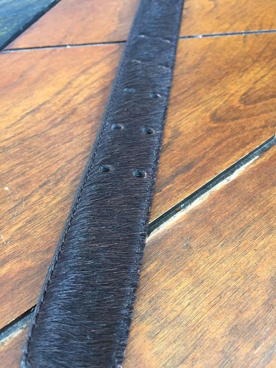 Vintage Western belt Fur belt Gold Leather Fur Be… - image 4