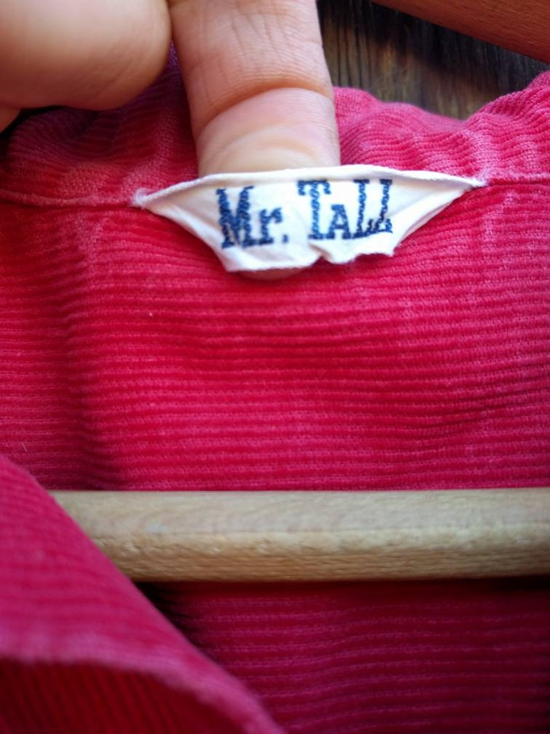 Tall Dee Cee Western Men/'s Rockabilly L XL 70s Corduroy Shirt Red Mr