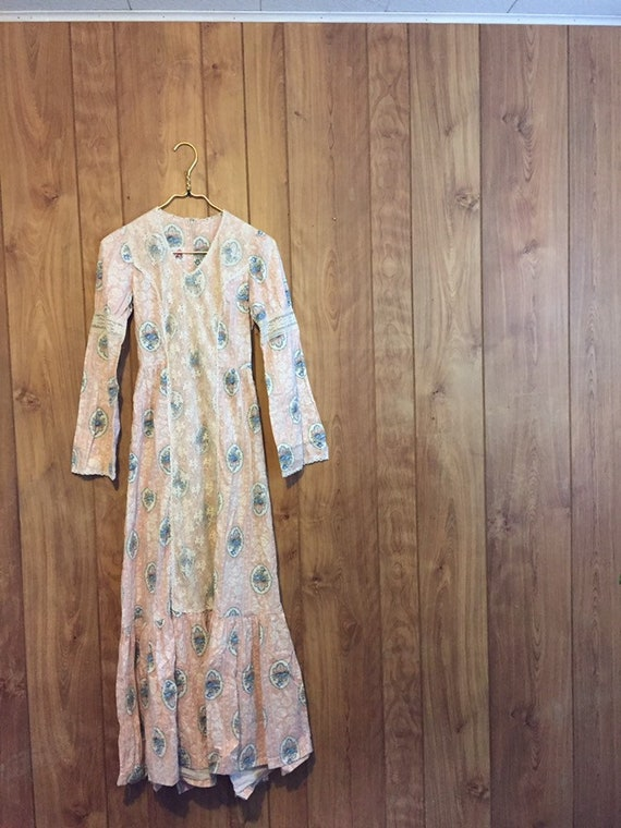 70s Prairie Dress Bell Sleeve Peasant Dress Prairi