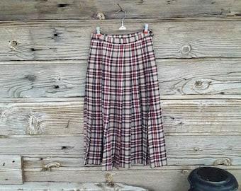 80s Pendleton Pleated Skirt Wool Plaid Skirt Wool Tartan Kilt Skirt Schoolgirl 26