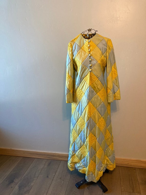 60s Malcom Starr quilted silk caftan house dress 1