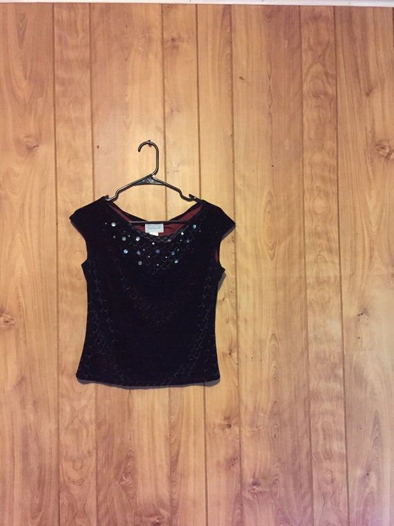 90's Velvet Crop Top // Velvet Formal Top // Small