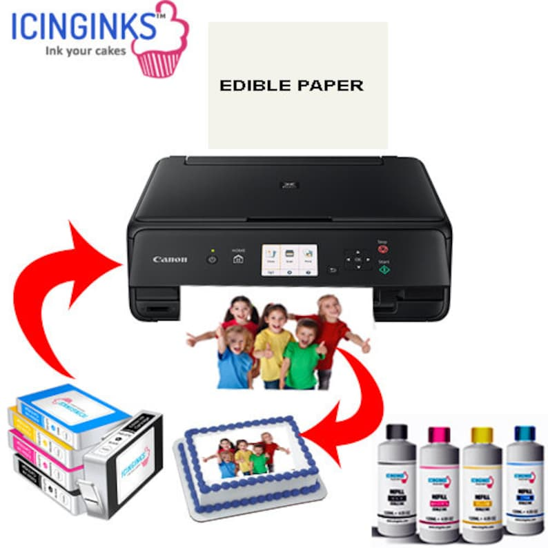 picture about Edible Printable Paper for Cakes called Icinginks Canon Edible Printer Package -Will come With Edible Printer, Edible Ink Cartridges, Edible Refill Inks, Edible Paper- Ideal Cake Printer