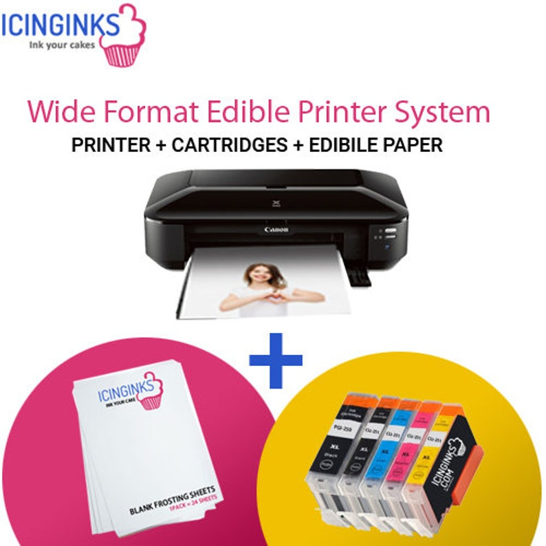 graphic about Edible Printable Paper for Cakes identified as Icinginks Huge Structure Edible Printer Course of action - Canon PIXMA iX6820 (Wi-fi) Arrives with Edible Cartridges and 12 Frosting Sheets