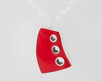 Chunky Red Pendant,Adjustable Chain Necklace,Red Designer Necklace,Apstract Red Pendant Chain Necklace,Different Red Pendant NecklaceLong