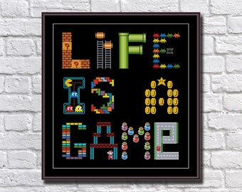 Life Is A Game   Retro Video Games Funny Cross Stitch Pattern PDF Instant  Download