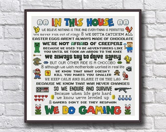 Funny Cross Stitch Pattern PDF Instant Download - In This House We Do Gaming - Skyrim Fallout GTA Mario Sonic Final Fantasy - Gamer Quote