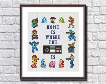 Home is Where the NES is - Funny Cross Stitch Pattern PDF Instant Download