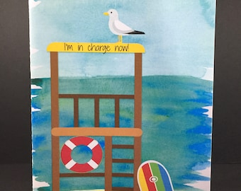 Seagull card, I'm in charge now, lifeguard station, funny card, seaside, beach, surf board