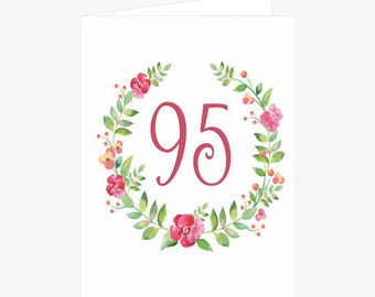 Pretty 95th 96th 97th 98th Or 99th Birthday Card Flower Wreath Pink For Mom Grandmother
