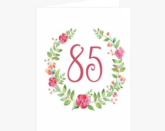 Pretty 85th 86th 87th 88th Or 89th Birthday Card Flower Wreath Pink For Mom Her Friend