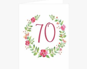 Pretty 70th Birthday Card Flower Wreath Pink Green For Mom Her Friend