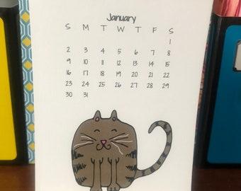 2022 cat drawing calendar, quarter page mini desk calendar, stand calendar, wooden easel, easel calendar, cute cats