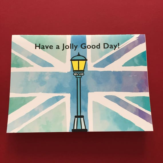 pale Union Jack watercolor background Red telephone box British humor card 7 x 5 Have a jolly good day! ink drawing