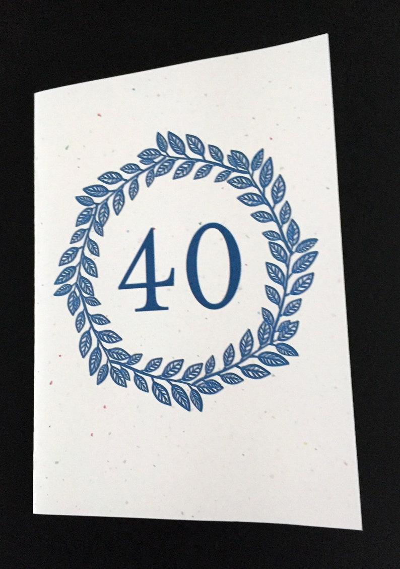 Blue Laurel Wreath Birthday Card Birthday Card for Dad Card for brother Card for Uncle 40th Birthday Card