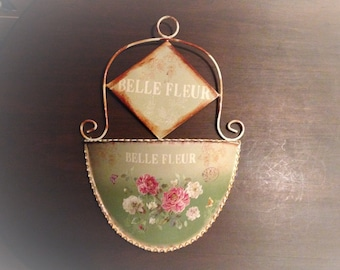 WALL POCKET CATCHALL, Planter, Mail Slot, Mail Holder, Belle Fleur Wall Hanging