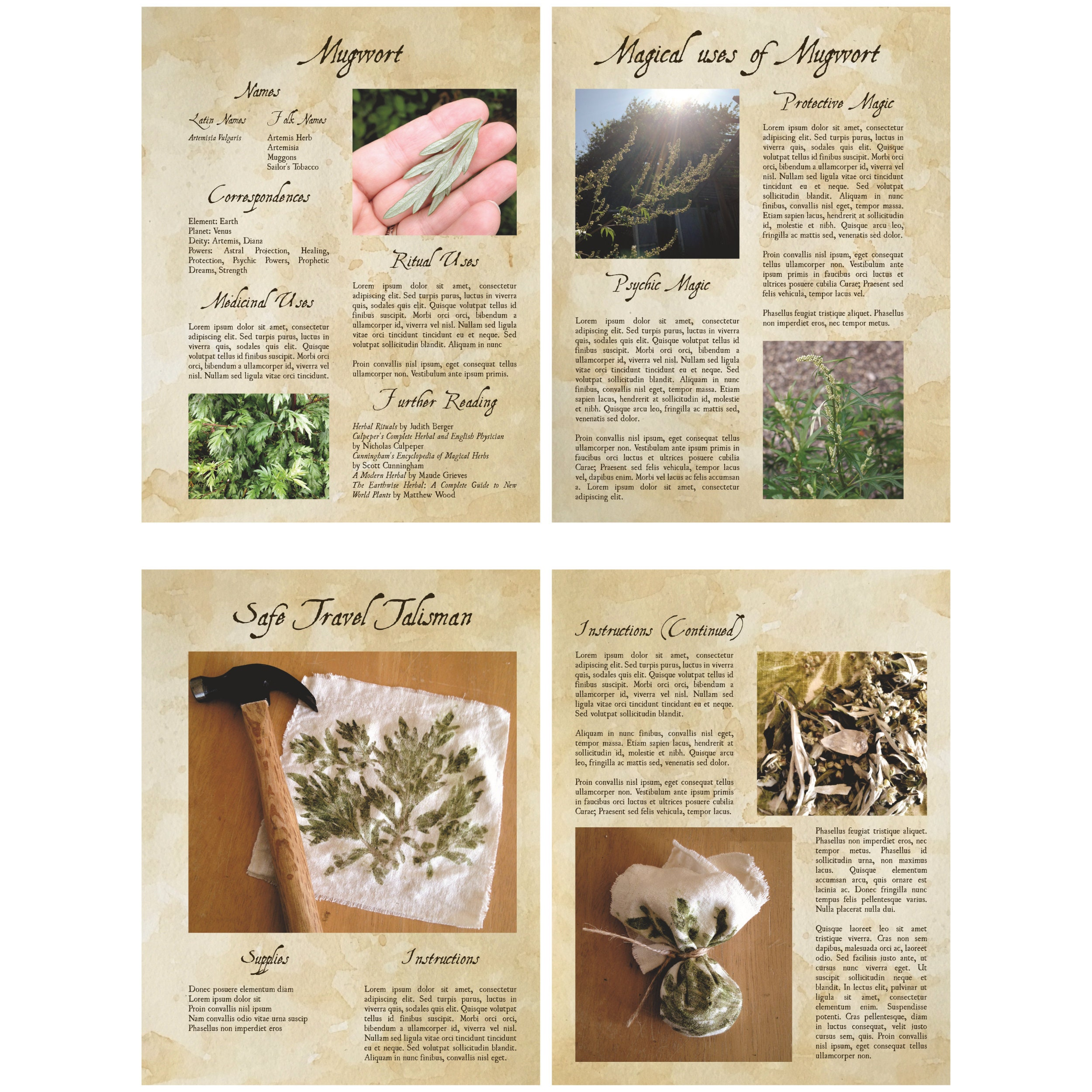 Mugwort Bundle Printable Book of Shadows / Grimoire Pages - Color with  Hole-Punch Margins for 3-Ring Binder - DIY Magical Herbcraft
