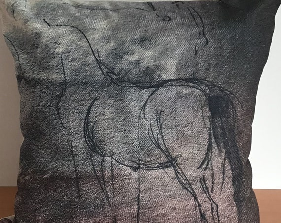 """Modern Horse Drawing Pillow Cover 20"""" by 20"""""""