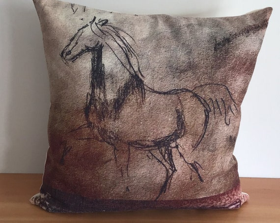 """Modern Brown Horse Pillow Cover 20"""" by 20"""""""