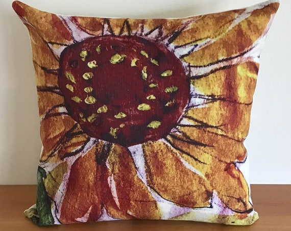"Artistic Sunflower Indoor/Outdoor Pillow Cover 20"" by 20"""
