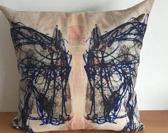 """Blue Horse Pillow Cover 20"""" by 20"""" - Equestrian Pillow Cover - Western Pillow Cover"""