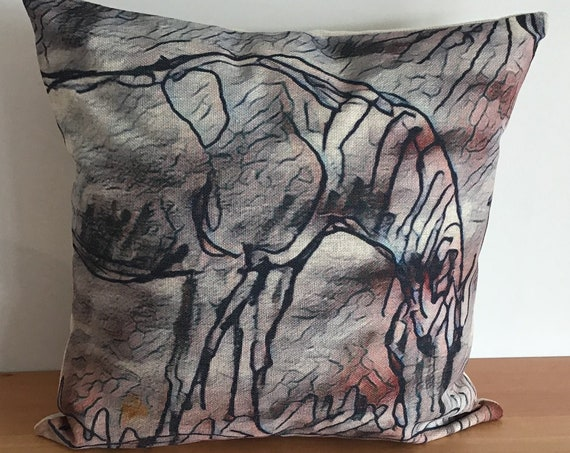 """Abstract Horse Pillow Cover 20"""" by 20"""""""