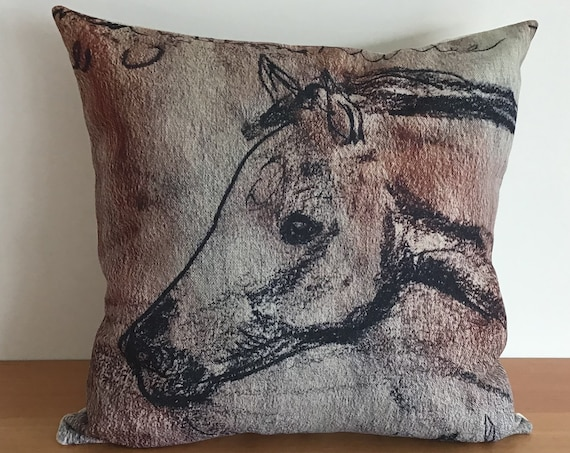 """Horse Pillow Cover - Young Foal Pillow Cover 20"""" by 20""""- Equestrian Pillow Cover - Linen Pillow Cover"""