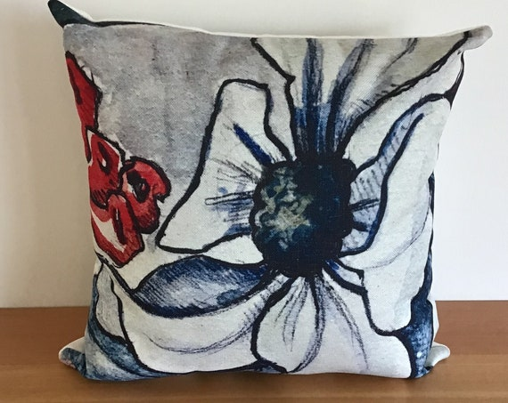 """Modern Floral Indoor/Outdoor Pillow Cover 20"""" by 20"""" - Floral Pillow Cover- Dogwood Pillow - Decorative Pillow - Linen Patio Pillow Cover -"""