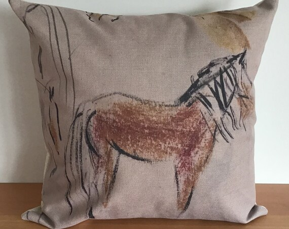 """Brown Primitive Horse Pillow Cover 20"""" by 20"""""""