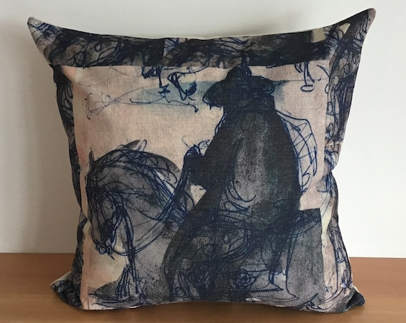 """Lone Horse and Rider Blue Pillow Cover 20"""" by 20"""""""