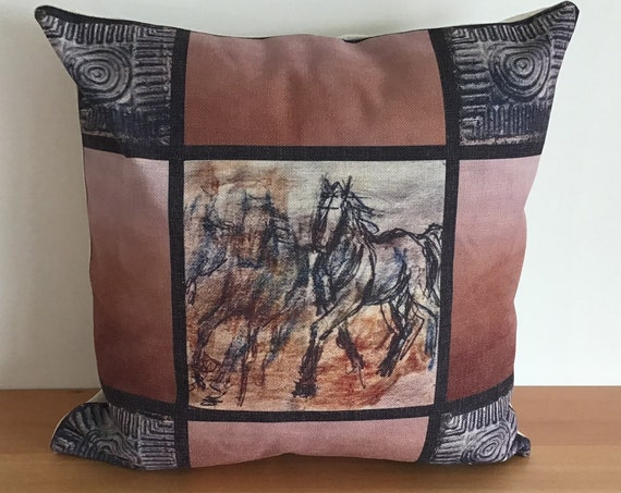 """Young Horse Montage Pillow Cover 20"""" by 20"""""""