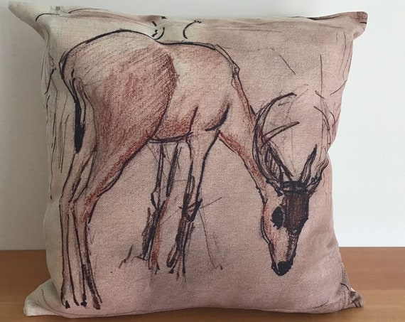 "Deer Grazing Pillow Cover 20"" by 20"""