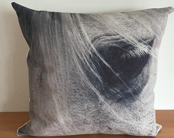 """Horse Pillow Cover 20"""" by 20"""" - Equestrian Pillow Cover - Western Pillow Cover - Linen Pillow Cover"""