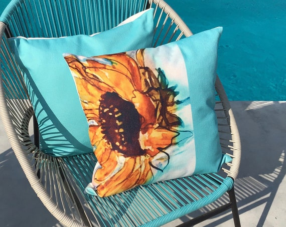 "Teal Indoor/Outdoor 20"" by 20"" Linen Pillow Cover"