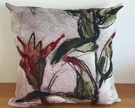 """Vibrant Indian Paint Brush Indoor/Outdoor Pillow Cover 20"""" by 20"""""""
