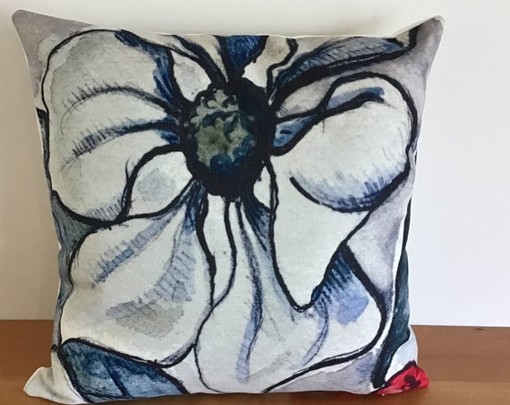 """Modern Floral Indoor/Outdoor Pillow Cover 20"""" by 20"""" - Floral Pillow Cover - Decorative Pillow Cover - Linen Patio Pillow Cover"""