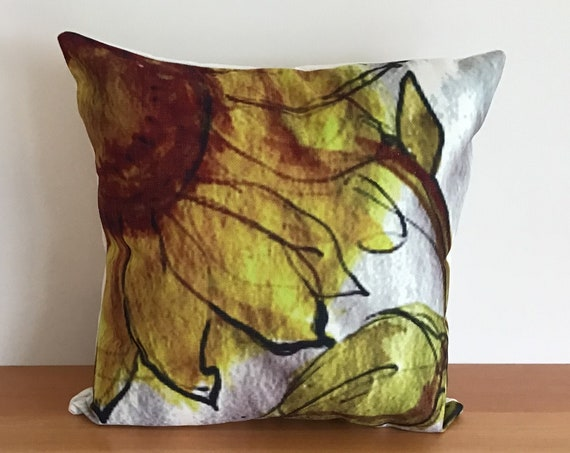 "Modern  Sunflower Indoor/Outdoor Pillow Cover 20"" by 20"""