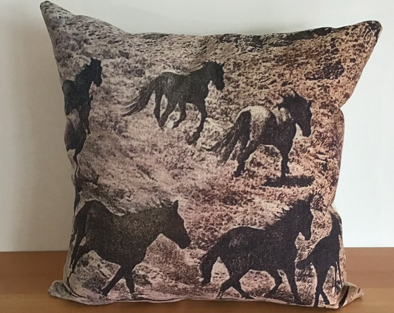 """Wild Horses Pillow Cover 20"""" by 20"""" - Western Pillow Cover - Equestrian Pillow Cover"""